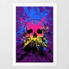 Skull splatter Art Print