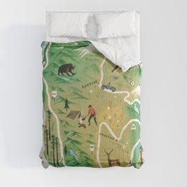 Northern California Map Vintage Handrawn illustration Comforters