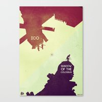 shadow of the colossus Canvas Prints featuring Shadow of the Colossus & Ico by andbloom