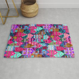 Pink And Purple Houses Pattern Rug