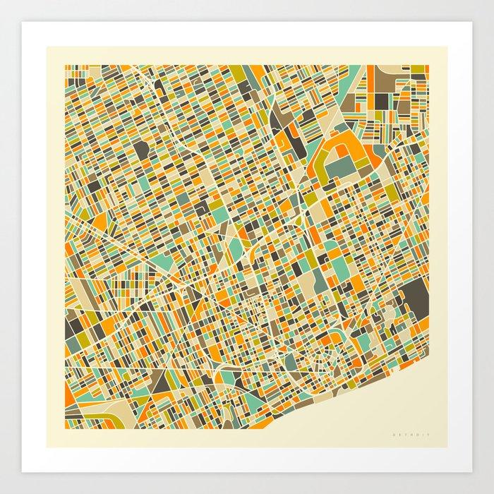 Detroit Map Kunstdrucke
