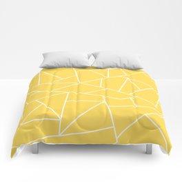 White Mosaic Lines On Mustard Yellow Comforters