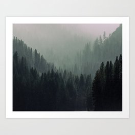 Mt Shasta Forest in Shades of Green Art Print