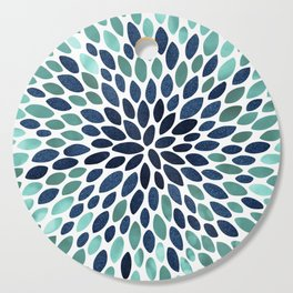 Flower Bloom, Aqua and Navy Cutting Board