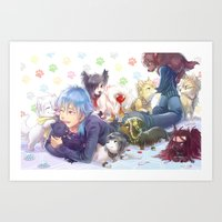 dramatical murder Art Prints featuring Dramatical Dogs by hasu