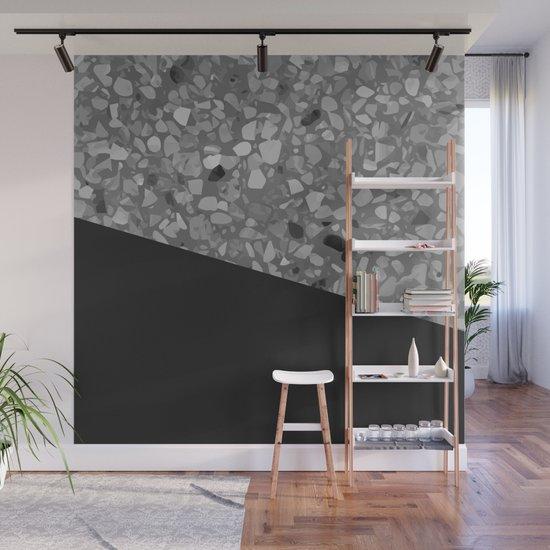 Terrazzo Texture Grey Black #7 by printablespassions