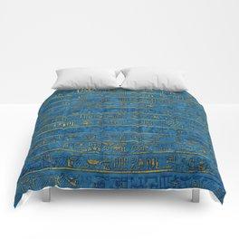 Golden Embossed Egyptian hieroglyphs on blue Comforters