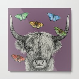 Heather the Highland Cow, Butterflies, pen and ink illustrations, purple Metal Print