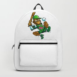 Baseball Monkey - Lime Backpack