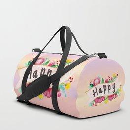Watercolor Happy Flowers Banner Duffle Bag
