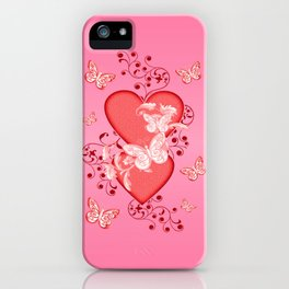 Butterflies and Hearts iPhone Case