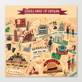 Edible Map of Dublin Canvas Print
