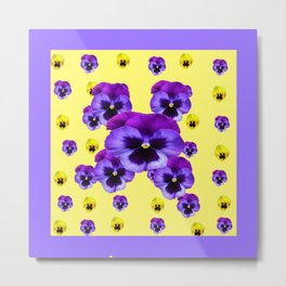 LILAC FRAMED YELLOW & PURPLE PANSY GARDEN FLOWERS Metal Print