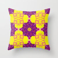 psychadelic Throw Pillows featuring Psychadelic Flora by Cynthia Squire
