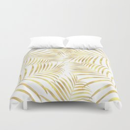 Palm Leaves in Golden Yellow Pattern Duvet Cover