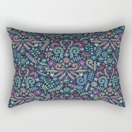 Colored Chalk Floral Doodle Pattern Rectangular Pillow
