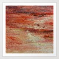 Red Monet's Theme of Waterlilies Art Print