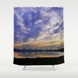 The Docks (Digital Art) Shower Curtain