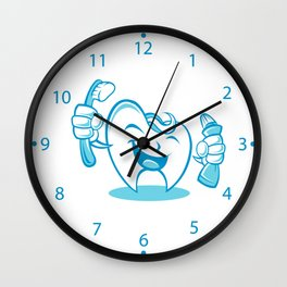 Smiling tooth with toothbrush and toothpaste Wall Clock