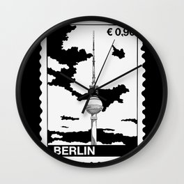 TV Tower in Berlin Stamp B&W Wall Clock
