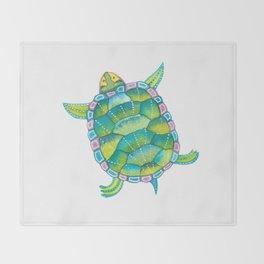 Tropical sea turtle - turquoise aqua blue Throw Blanket