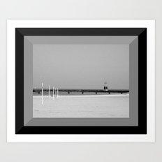 Lake Michigan Beacon Light in Black & White Art Print