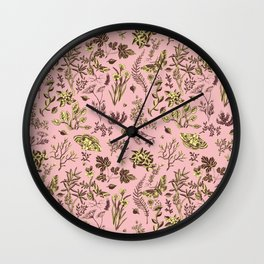 Moths and wild fowers Wall Clock