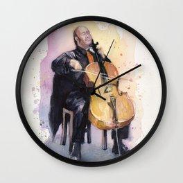 Cello Music Watercolor Cellist Portrait Wall Clock