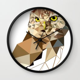 Geometric owl art Bird artwork Woodland birds Wall Clock