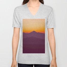 Purple Parallax Mountains Minimalist Colorful Landscape photo With Orange Sunset Sky Unisex V-Neck