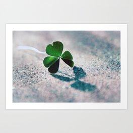Green Clover Shadow Art Print