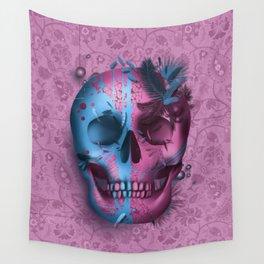 skull art decor pink Wall Tapestry