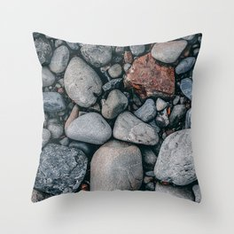 sea stones shapes smooth ribbed Throw Pillow