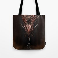 smaug Tote Bags featuring Smaug And The Thief by Andy Fairhurst Art