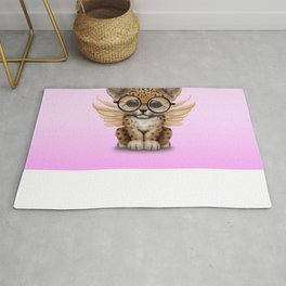 Cute Leopard Cub Fairy Wearing Glasses Pink Rug