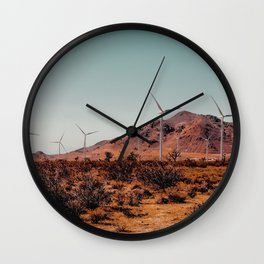Wind turbine in the desert with mountain view at Kern County California USA Wall Clock
