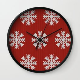 Knitted snowflakes Christmas pattern on red Wall Clock