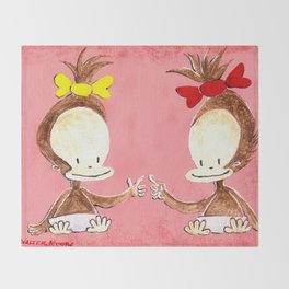 Two Baby Ape Girls on Pink Throw Blanket