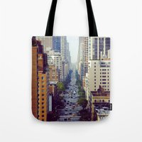 starbucks Tote Bags featuring Which Starbucks? by Phil Provencio