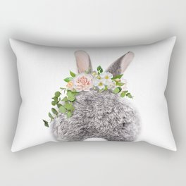 Bunny Tail, Grey Baby Rabbit, Bunny With Flower Crown, Baby Animals Art Print By Synplus Rectangular Pillow