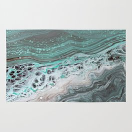 Teal Flow Abstract Acrylic Painting Rug