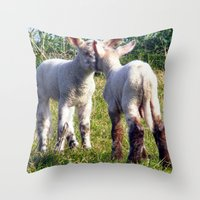 silence of the lambs Throw Pillows featuring Spring Lambs by Valann