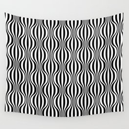 Black & White Wavy Pattern Wall Tapestry