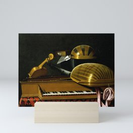 Bartholomeo Bettera Still Life with Musical Instruments and Books Mini Art Print