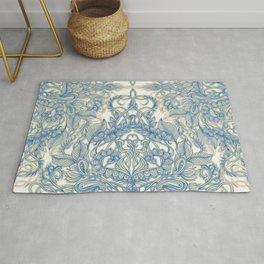Blue & Tan Art Nouveau Pattern Rug