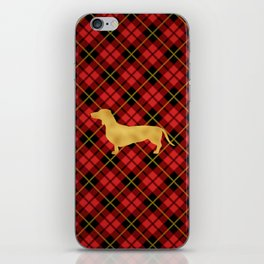 Red Plaid Dachshund iPhone Skin