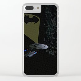 The Enterprise using the Bat signal against the Borg Clear iPhone Case