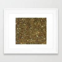 gold glitter Framed Art Prints featuring Gold Glitter by NatalieBoBatalie