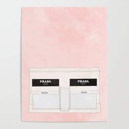 pink marfa watercolor illustration Poster