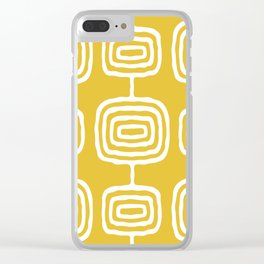 Mid Century Modern Atomic Rings Pattern 771 Mustard Yellow Clear iPhone Case